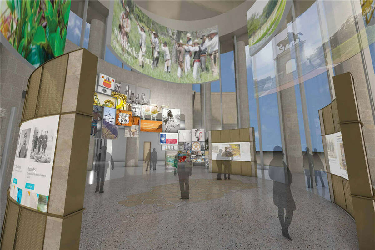"""A rendering of the Visitors Center inside the Nau Center for Texas Cultural Heritage, a new """"gateway to the region"""" whose facilities will also include a museum about Houston's history."""
