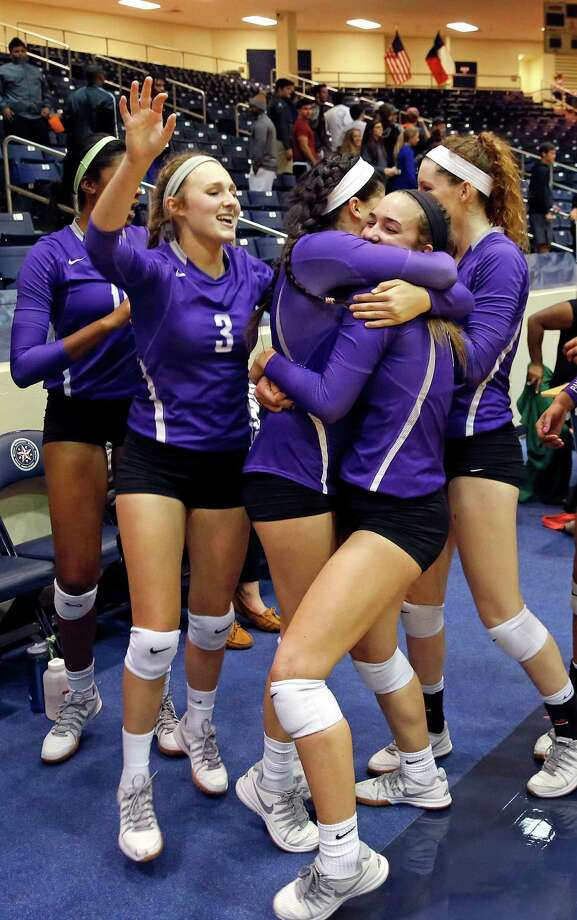 High school playoff match between George Ranch and Ridge Point at Coleman Coliseum, 1050 North Dairy Ashford. ID: Ridge Point players celebrate their tough-fought win against George Ranch. Tuesday  November 11, 2014 Photo: Craig Hartley, For The Chronicle / Copyright: Craig H. Hartley