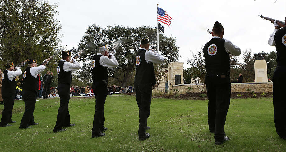 Members of the VFW Post 688 give the 21 Gun Salute at the Re-Dedication of Boerne's Veterans Plaza and Veterans Day Ceremony.  Tuesday, Nov. 11, 2014. Photo: Bob Owen, Staff / San Antonio Express-News / ©2014 San Antonio Express-News