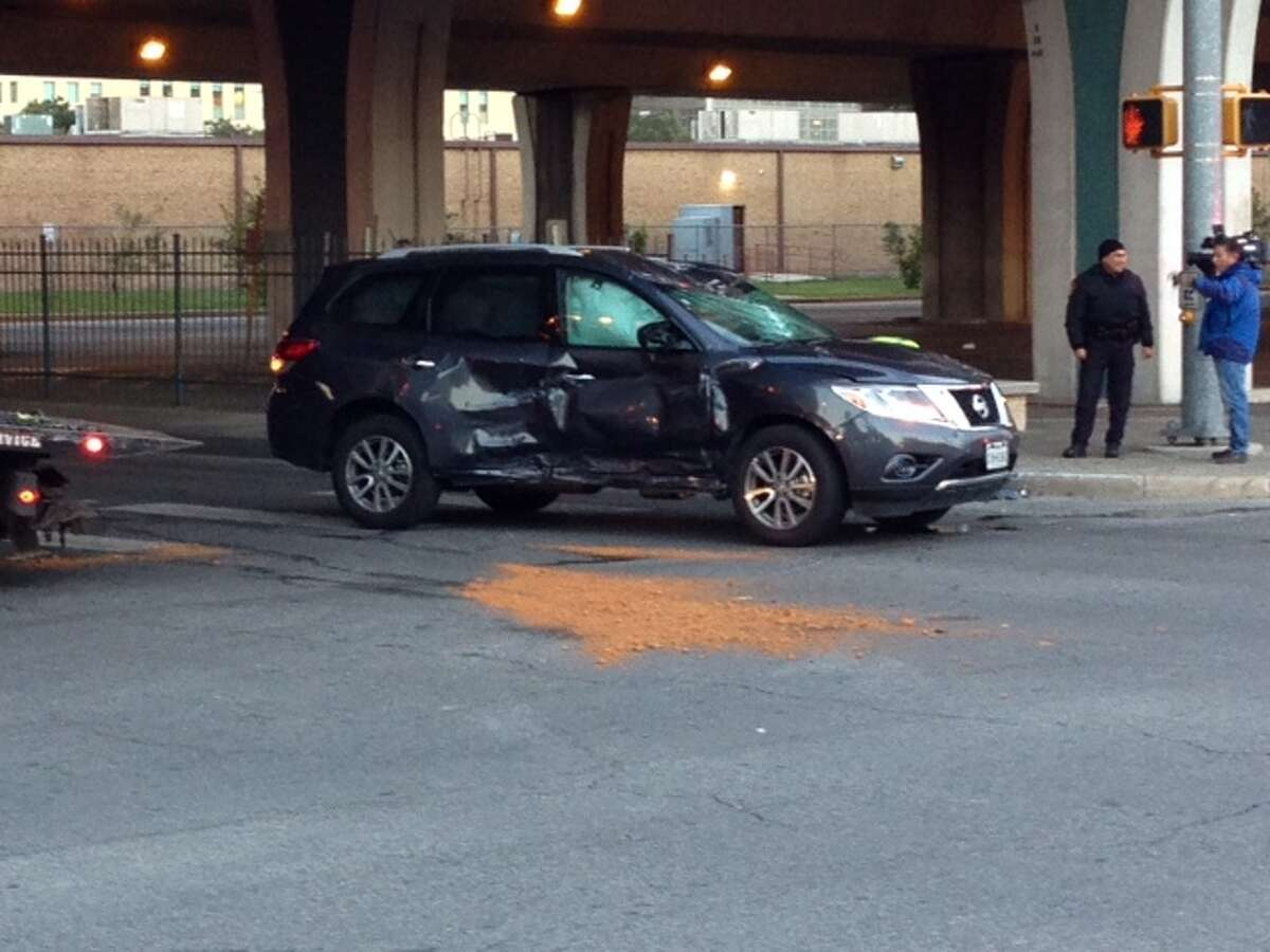 A woman was injured Wednesday, Nov. 11, 2014 after her vehicle rolled over near downtown.