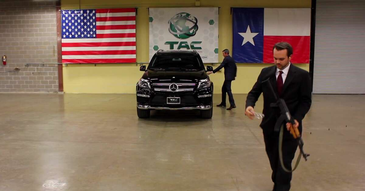 A new YouTube video from San Antonio-based Texas Armoring Corporation, which supplies armored vehicles, shows just the opposite of what many might deem common sense. In it, Lawrence Kosub, the company's sales and export compliance manager, fires an AK-47 at an armored Mercedes-Benz with the company's president and CEO R. Trent Kimball sitting in the driver's seat.