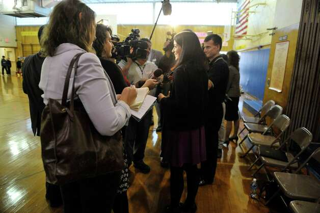 Rosendale Elementary School fourth grade teacher Roseann Maurantonio talks with members of the media after receiving a Milken Educator Award Wednesday morning, Nov. 12, 2014, at Rosendale Elementary School in Niskayuna, N.Y.   (Paul Buckowski / Times Union) Photo: Paul Buckowski / 00029448A