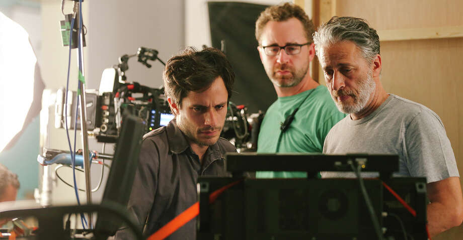 "Gael García Bernal, left, and Jon Stewart, right, review a scene from ""Rosewater,"" a film about a journalist arrested for spying in Iran."