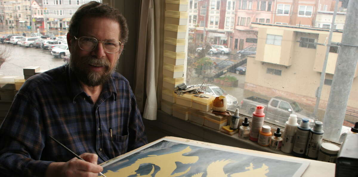 Bob Steiner, a San Franciscan whose artwork has been featured on many state and federal duck stamps, performs the early stages of a work. Top, the 2008 duck stamp for Alaska and Oregon.