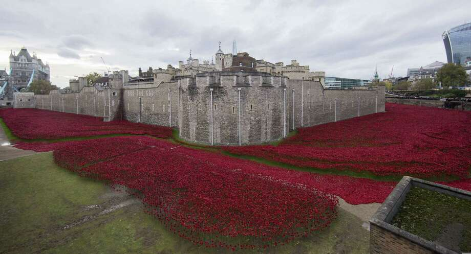 "TOPSHOTS A general view shows the ""Blood Swept Lands and Seas of Red"" installation of ceramic poppies by artist Paul Cummins and theatre stage designer Tom Piper, marking the centenary of the outbreak of the First World War, in the moat area of the Tower of London in London on November 11, 2014. Designed as a tribute to Britain's World War I dead, a blood-red trench of ceramic poppies around the Tower of London has become a national phenomenon as Britons flock to remember the fallen in generations of war. The final poppy was planted on Armistice Day November 11. The installation now consists of over 800,000 ceramic poppies, each one symbolising a British and Commonwealth military fatality in WW1. AFP PHOTO / ANDREW COWIE -- RESTRICTED TO EDITORIAL USE, MANDATORY MENTION OF THE ARTIST UPON PUBLICATION, TO ILLUSTRATE THE EVENT AS SPECIFIED IN THE CAPTIONANDREW COWIE/AFP/Getty Images ORG XMIT: 5810 Photo: ANDREW COWIE, Getty / AFP"