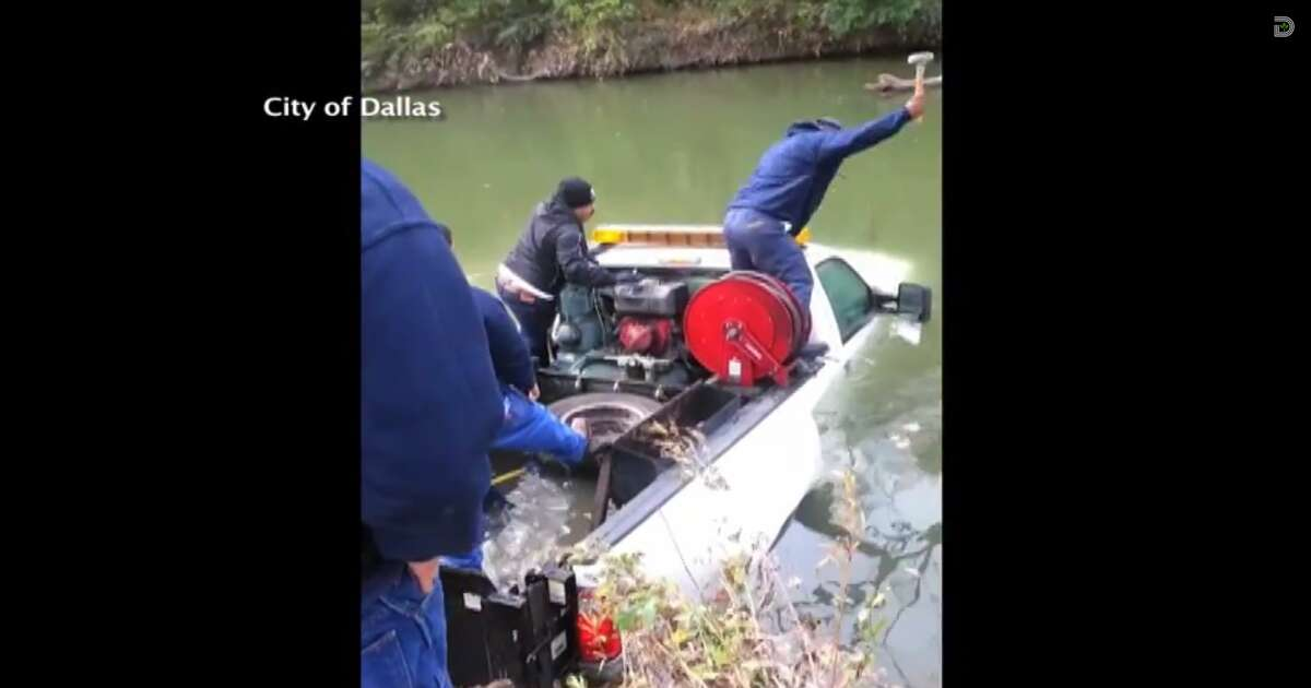 Two City of Dallas employees rescued their co-worker Tuesday afternoon after the worker's city truck fell into a creek. Raul Alamillo, Jr. and Brent English were on their way to a job site when they noticed a submerged truck in White Rock Creek, according to the city's news page. They realized someone was still in the truck when they saw its brake lights flashing.