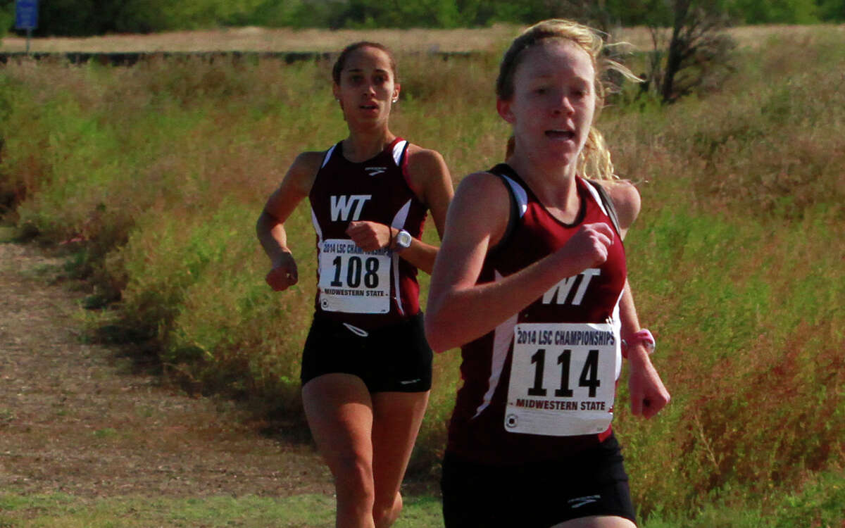 Emma Love of West Texas A&M runs at the Lone Star Conference cross country championships in November.