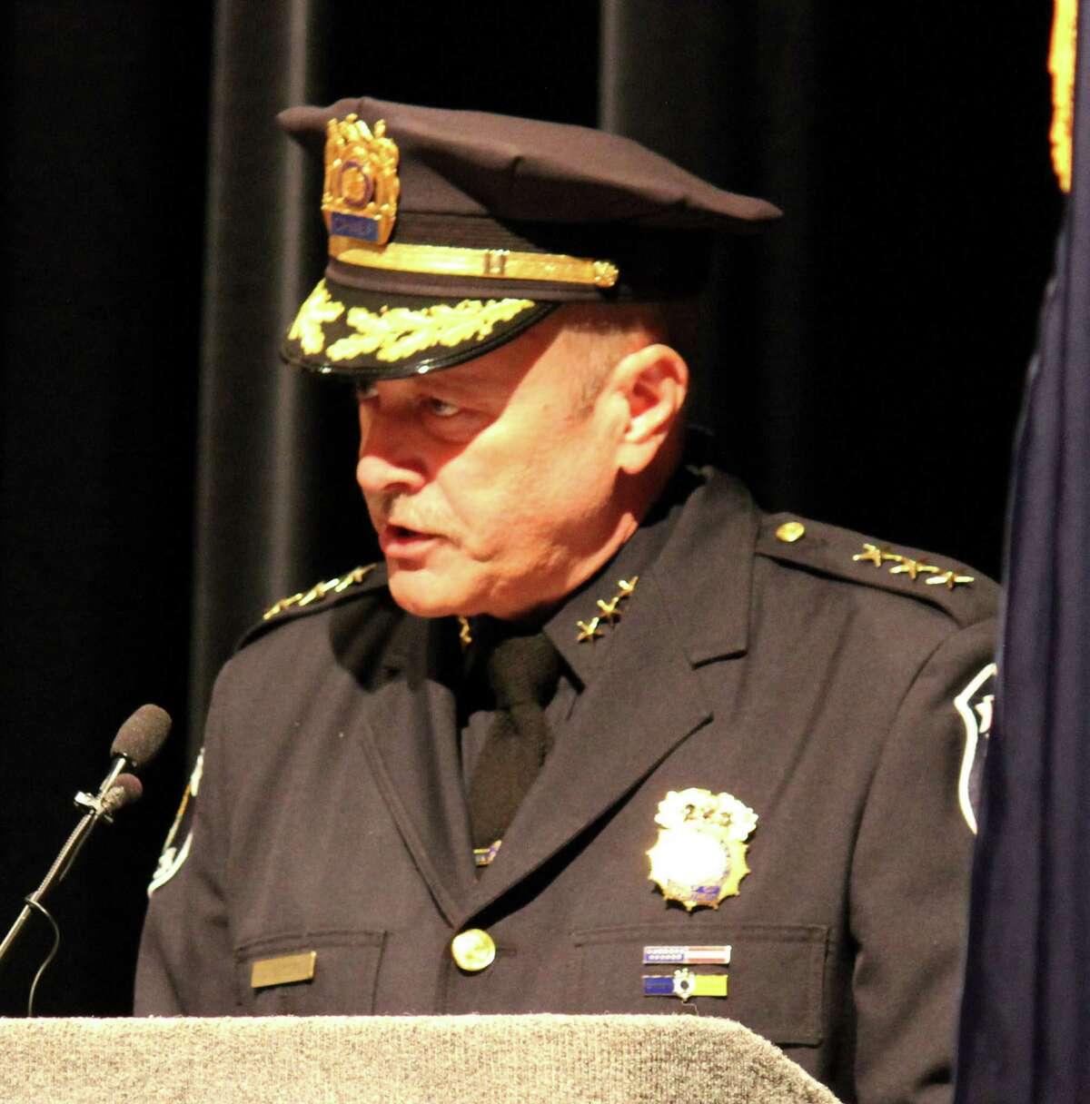 Chief Louis Corsi of the Bethlehem Police Department addresses The Zone 5 Training Academy Session 56 graduates on Tuesday morning, July 1, 2014 at Schenectady County Community College in Schenectady N.Y. (Selby Smith / Special to the Times Union)