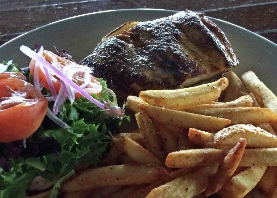 Grilled mahi mahi sandwich as served at the Lazy Lizard Coastal Kitchen & Cantina in San Leon.  Shot November 2014. Photo: Syd Kearney