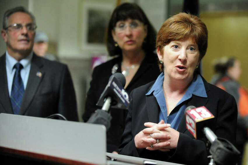 Albany Mayor Kathy Sheehan, right, speaks during an announcement of a joint initiative to end veteran homelessness on Wednesday, Nov. 12, 2014, at the VA Medical Center in Albany, N.Y. Joining her are Troy Mayor Lou Rosamilia and Amsterdam Mayor Ann Thane. Five Capital Region cities are uniting to find innovative housing solutions for homeless veterans. (Cindy Schultz / Times Union)