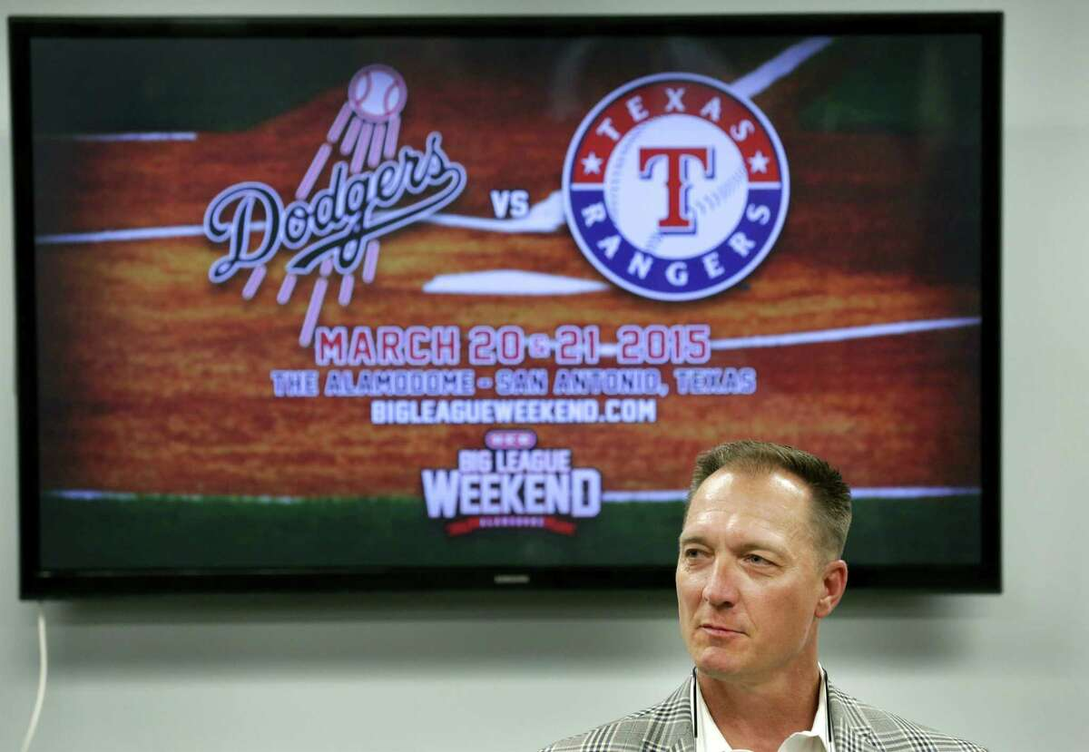 Jeff Banister, Manager of The Texas Rangers speaks to members of the media. The Texas Rangers and The Los Angeles Dodgers will play in the 2015 Big League Weekend, playing games in the Alamodome on March 20 and 21. Wednesday, Nov. 12, 2014.