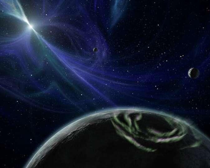 This is an artist's interpretation of a pulsar planet ...