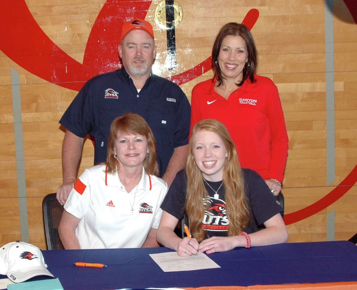 New Braunfels Canyon senior volleyball player Shelby Williams signs a national letter of intent with UTSA on Nov. 12, shortly after learning she was named District 25-6A's Most Valuable Player.