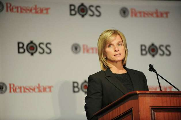Patricia Fusco, founder, president and CEO of Fusco Personnel, speaks during the Business Opportunities to Success Summit (BOSS): Mastering the Pivot! on Wednesday, Nov. 12, 2014, at  the Hilton Garden Inn in Troy, N.Y. (Cindy Schultz / Times Union) Photo: Cindy Schultz / 00029440A