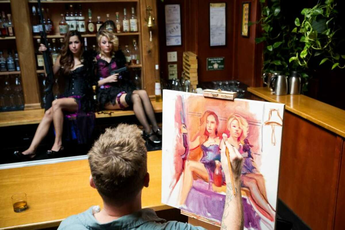 In this photo (and the previous) Harrington paints models Kailey Anne Sommerdorf, 20, and Marlene Rodriguez, 27, for his 10-years-and-counting project,