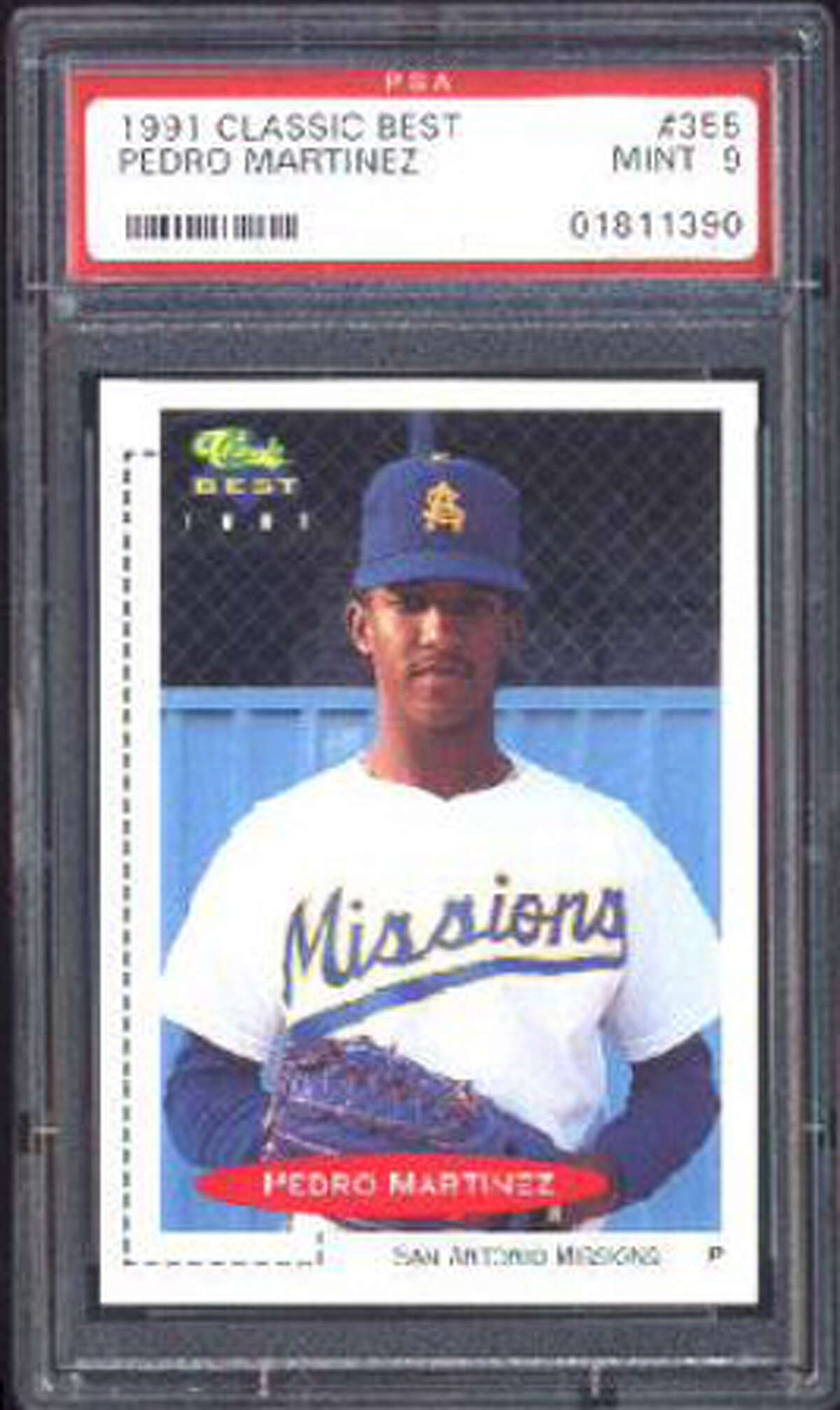 A 1991 baseball card of San Antonio Missions pitcher Pedro Martinez.