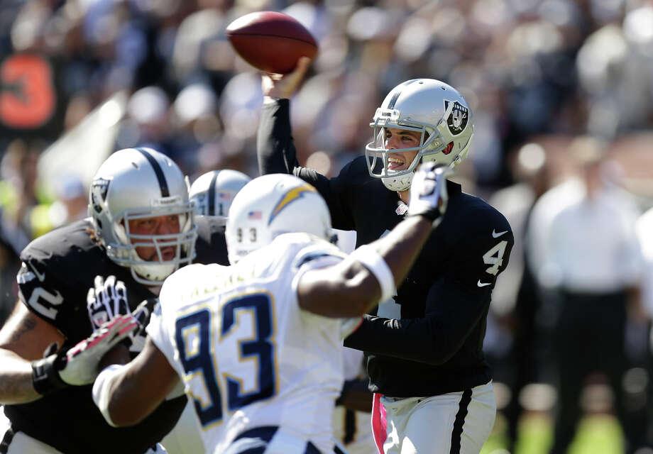 Derek Carr threw four touchdown passes in Oakland's 31-28 loss to San Diego last month. Photo: Ben Margot / Associated Press / AP