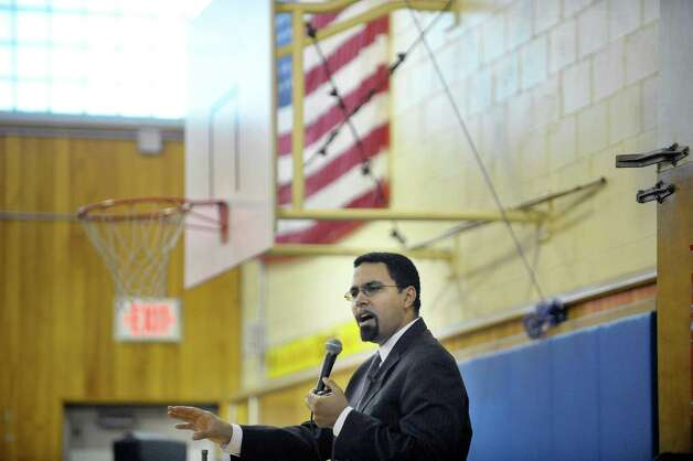 New York State Education Commissioner John King, Jr. addresses those gathered at Rosendale Elementary School during an assembly where fourth grade teacher Roseann Maurantonio was awarded a Milken Educator Award on Wednesday, Nov. 12, 2014, in Niskayuna, N.Y.   (Paul Buckowski / Times Union) Photo: Paul Buckowski / 00029448A