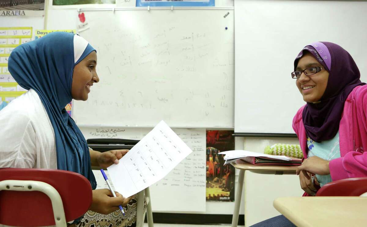 Houston is said to have the state's largest Muslim population, by some estimates, accounting for 1.2 percent of the city population. Sahar Fattani and Amina Wote are learning Arabic as their third language in their Level 3 Arabic Class at Bellaire High School on Tuesday, Nov. 11, 2014, in Houston.