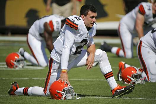 Cleveland Browns quarterback Johnny Manziel (2) warms up before an NFL football game against the Jacksonville Jaguars in Jacksonville, Fla., Sunday, Oct. 19, 2014. (AP Photo/Stephen B. Morton) Photo: Stephen B. Morton, Associated Press