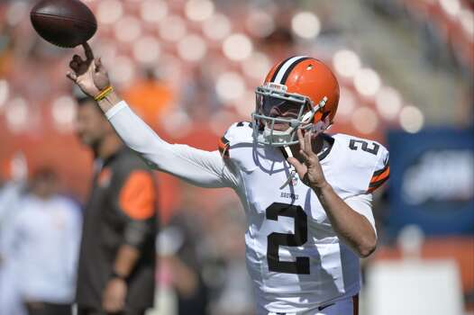 Cleveland Browns quarterback Johnny Manziel throws a pass prior to an NFL football game against the Baltimore Ravens Sunday, Sept. 21, 2014, in Cleveland. Baltimore won 23-21. (AP Photo/David Richard) Photo: David Richard, Associated Press