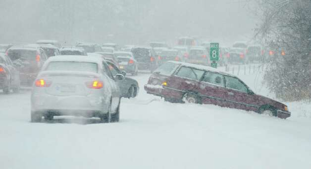 a multi-car accident in the area of Latham, New York on I - 87  after the first moderate snow event hit the area December 9, 2009. Photo: Skip Dickstein, TIMES UNION