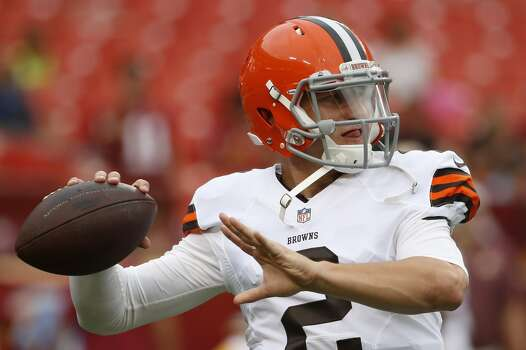 Cleveland Browns quarterback Johnny Manziel warms up before the start of an NFL preseason football game against the Washington Redskins on Monday, Aug. 18, 2014, in Landover, Md. (AP Photo/Evan Vucci) Photo: Evan Vucci, Associated Press