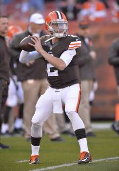 Cleveland Browns quarterback Johnny Manziel warms up before an NFL football game against the Oakland Raiders Sunday, Oct. 26, 2014, in Cleveland. (AP Photo/David Richard) Photo: David Richard, Associated Press