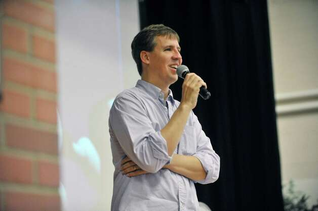 Jeff Kinney, author/illustrator of the Diary of a Wimpy Kid books, talks about his journey to becoming an author Thursday, Nov. 13, 2014, during a book tour stop at Skano Elementary School in Clifton Park, N.Y.  (Paul Buckowski / Times Union) Photo: Paul Buckowski / 00029458A