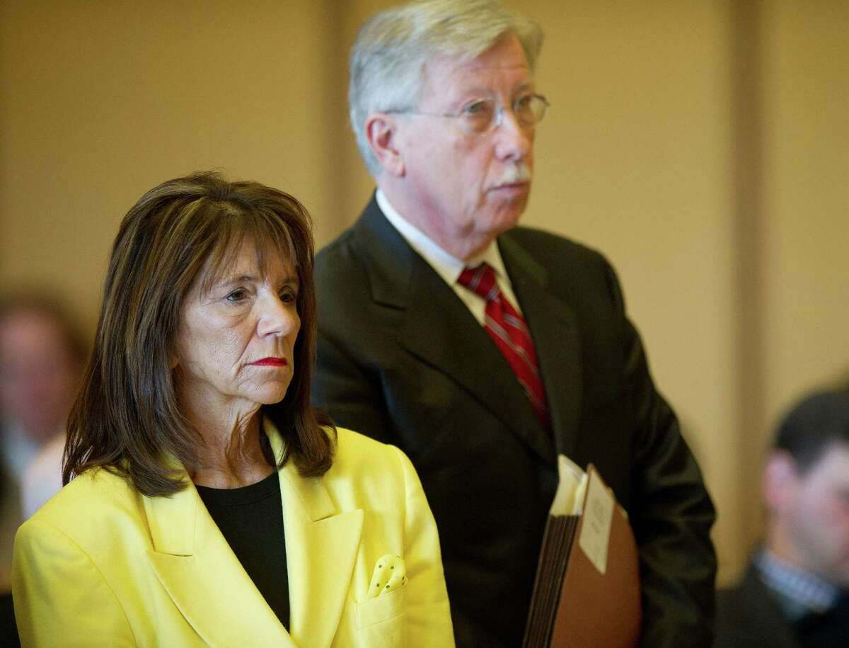 Stamford High School Principal Donna Valentine appears in State Superior Court in Stamford, Conn., on Thursday, November 13, 2014.