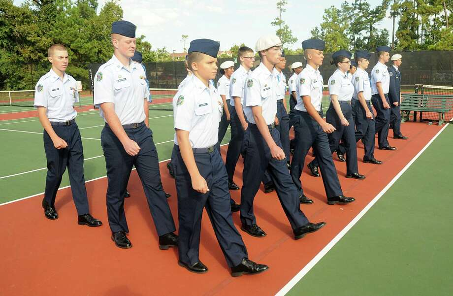 Sophomore cadets march during an Air Force JROTC training session at The Woodlands High School. Photograph by David Hopper Photo: David Hopper, Freelance / freelance
