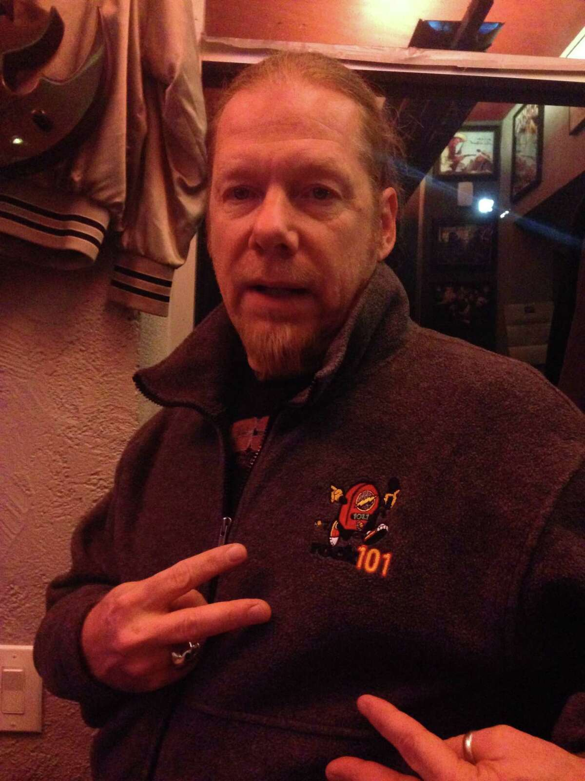 Wednesday night on his radio show, former KLOL jock Outlaw Dave Andrews talked about the last day of the iconic Houston rock station. Here he is posing in a fleece coat from the station.