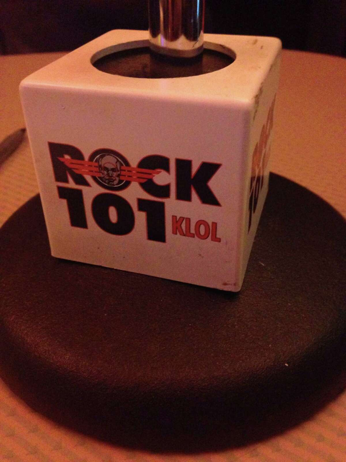 Wednesday night on his radio show, former KLOL jock Outlaw Dave Andrews talked about the last day of the iconic Houston rock station. This mic flag is one of Andrews' treasured artifacts from the station.