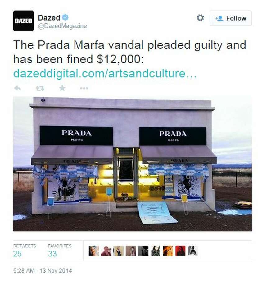 """A Texas artist has pleaded guilty to two counts of misdemeanor criminal mischief for vandalizing the famous Prada Marfa installation in Valentine.  Joe Magnano, a 32-year-old man using the pseudonym """"927 1977,"""" will pay Ballroom Marfa, which maintains the structure, $10,700 to restore the piece and a $1,000 fine, Glasstire reported. He will also serve two years probation. Photo: Fechter, Joshua I, Twitter"""