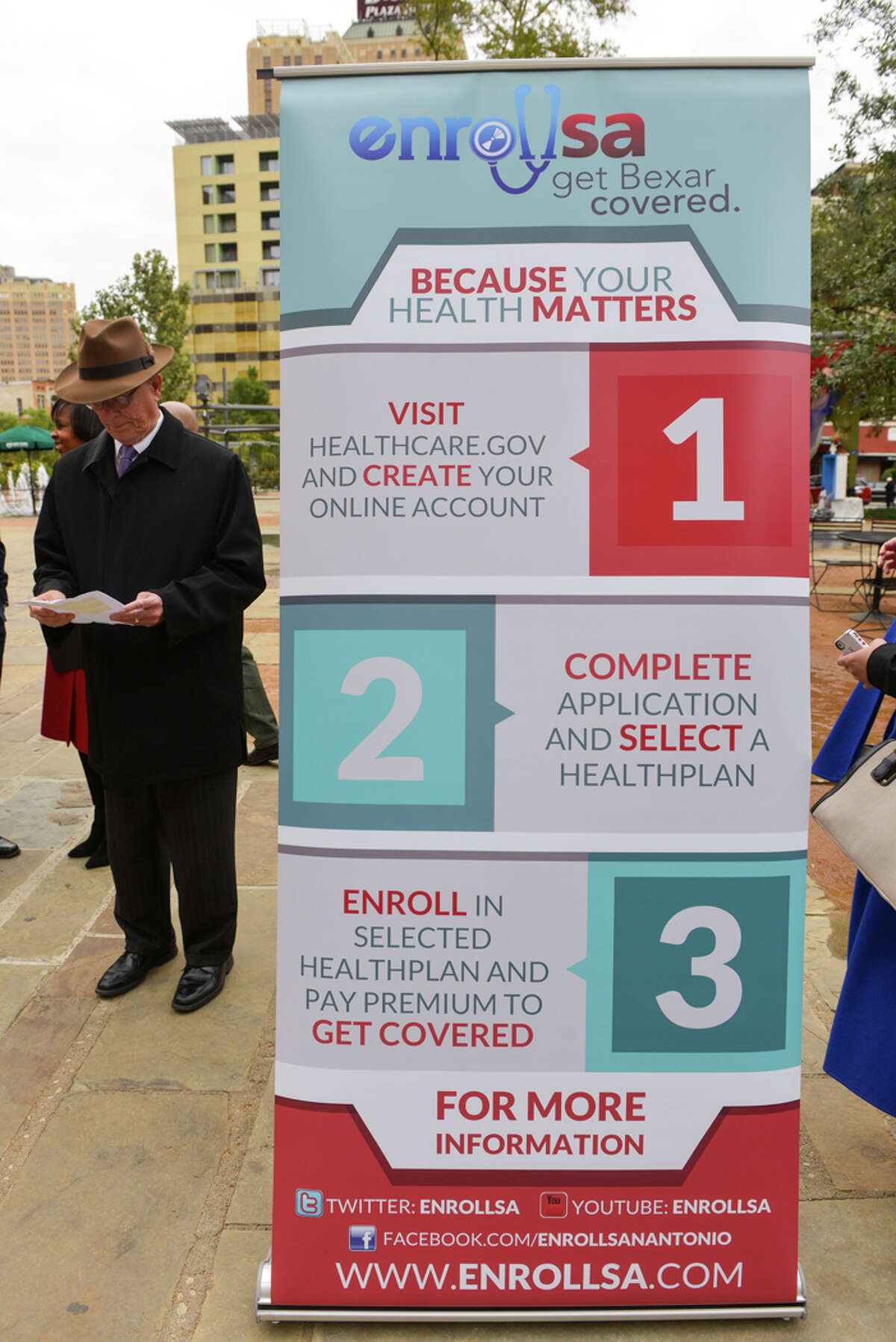 Bexar County Judge Nelson Wolff before a 2014 news conference reminding residents to enroll.