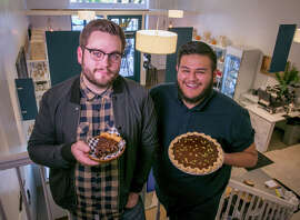 Clockwise, from above: Christian Sullberg (left) holds a slice of walnut chocolate pie while Ozzy Jimeenez carries a chocolate pumpkin pie at their Healdsburg shop Noble Folk; the chocolate maple; and the almond affogato.