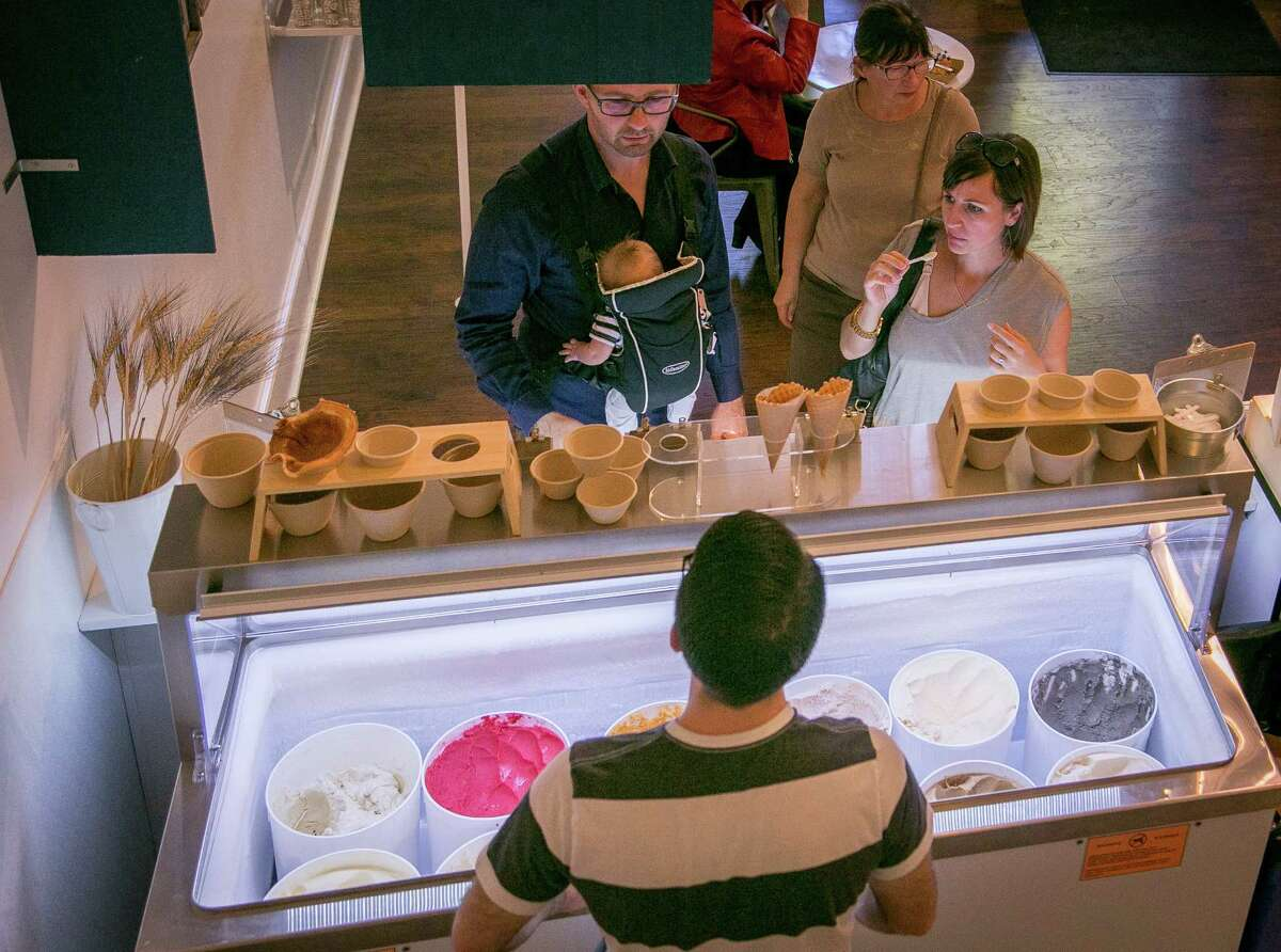 People sample ice cream at Noble Folk Ice Cream & Pie Bar in Healdsburg.