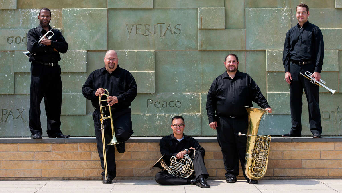 The Sacred Heart University Brass Quintet is made up of musicians, from left, Damon E. Coachman, Keith Johnston, Kevin Lam, Jason Bouchard and Walker Beard.They will perform an all-American program on Friday, Nov. 21. Photo by Mark F. Conrad.