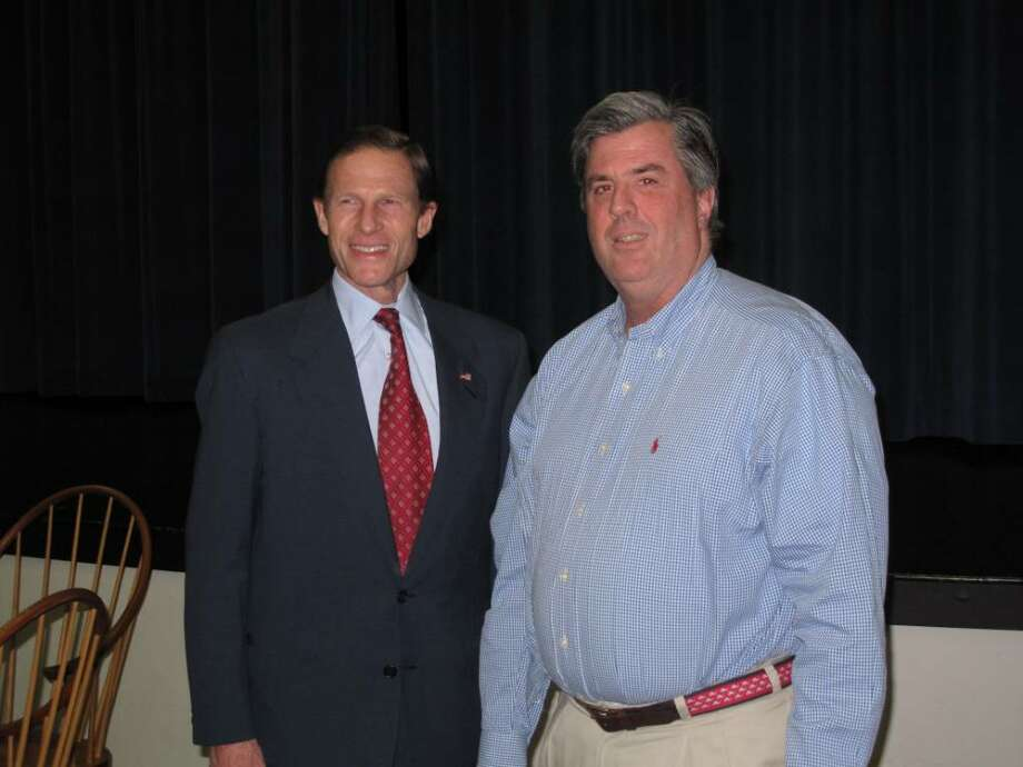 Attorney General Richard Blumenthal and Darien DTC Chair John Davis stand together after the DTC officially endorsed Blumenthal is his quest for U.S. Senate Monday night. Photo: Maggie Gordon / Darien News