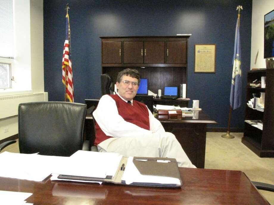 Republican First Selectman David Campbell in his Town Hall office. Photo: Maggie Gordon / Darien News