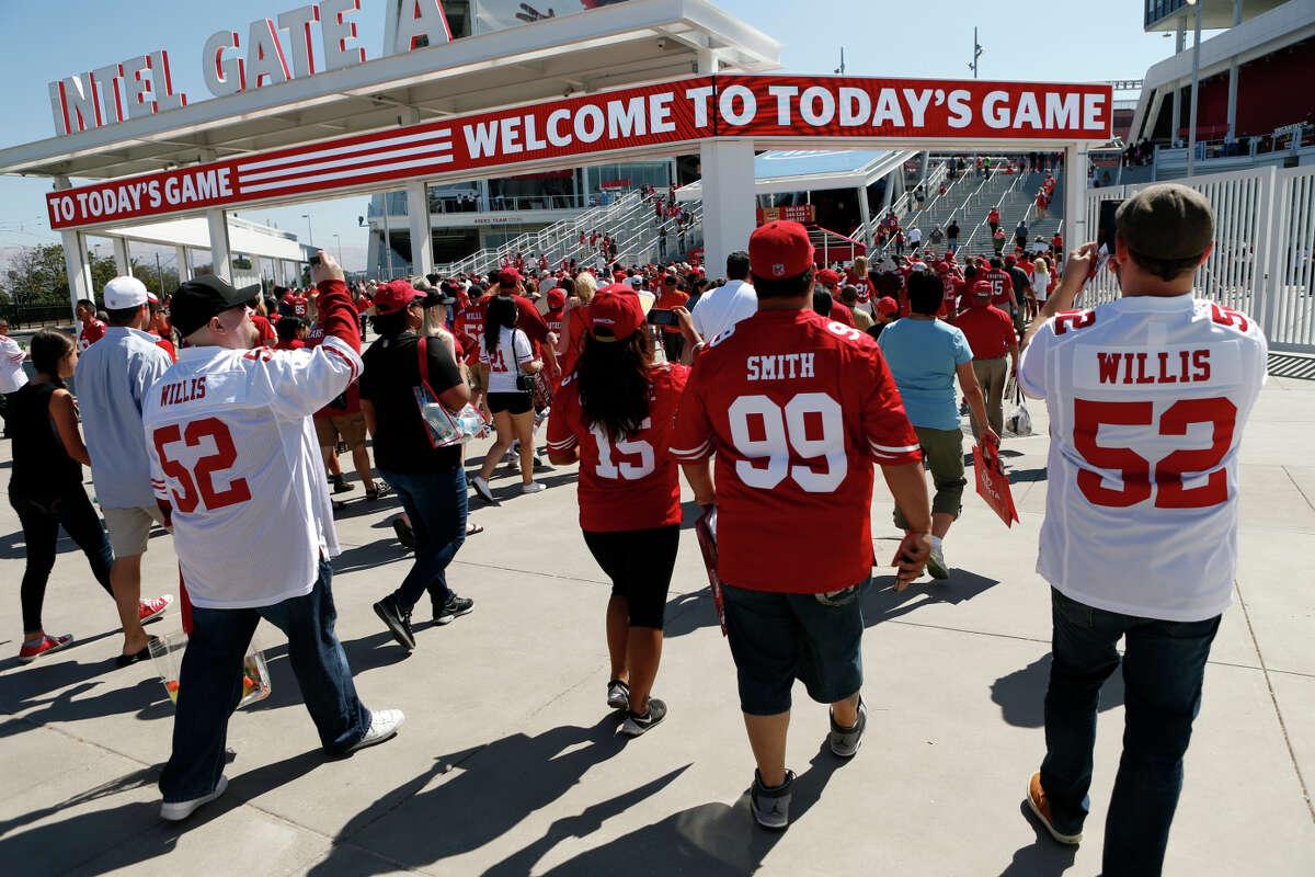 Fans take photos as the gates open before 49ers' preseason game at Levi's Stadium in Santa Clara on Aug. 17, 2014.