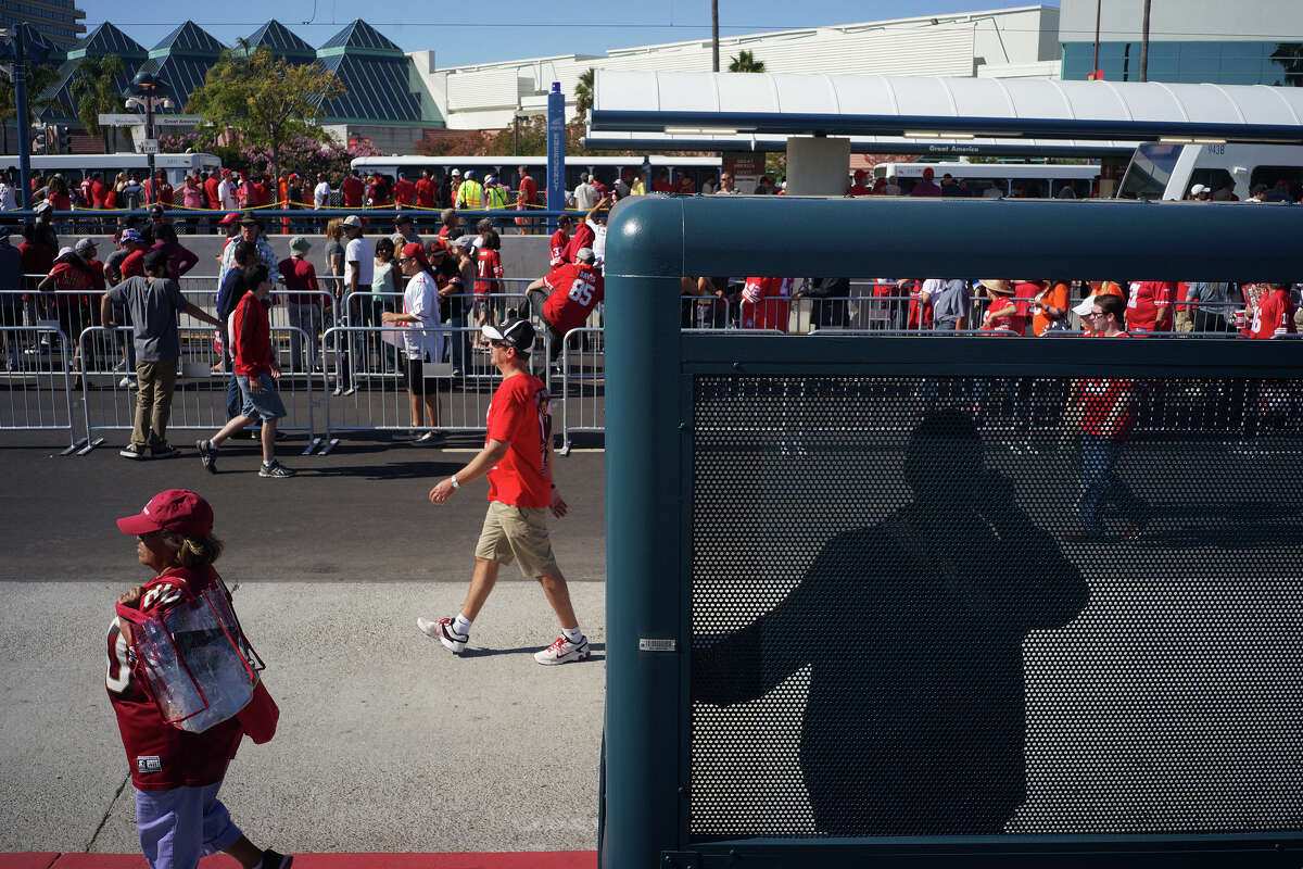 Fans make their way out of Levi's Stadium after the 49ers game Aug. 16, 2014, in San Francisco. 49ers fans came from all over to attend the first game at Levi's Stadium.