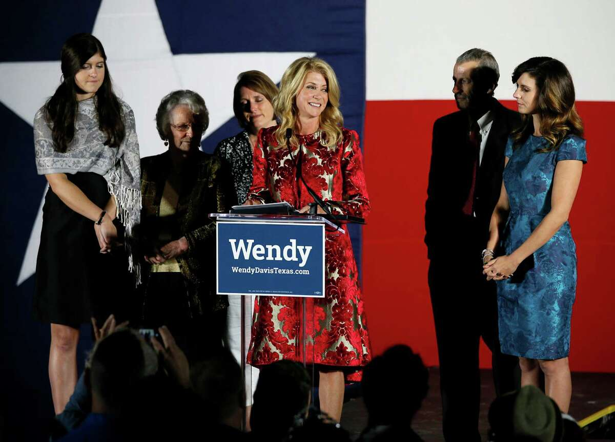 One possible reason for Wendy Davis' loss in the gubernatorial election was too narrow a focus. Davis makes her concession speech at her election watch party. Davis' family, daughter Dru, from left, mother Ginger Russell, sister Jennifer James, brother Joey Russell and daughter Amber, right, watch during the speech.