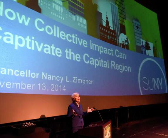 Nancy L. Zimpher, Chancellor of SUNY gives her keynote address at the Creative Economy Summit Thursday morning, Nov. 13, 2014, in Schenectady, N.Y.  (Skip Dickstein/Times Union) Photo: SKIP DICKSTEIN / 00029436A