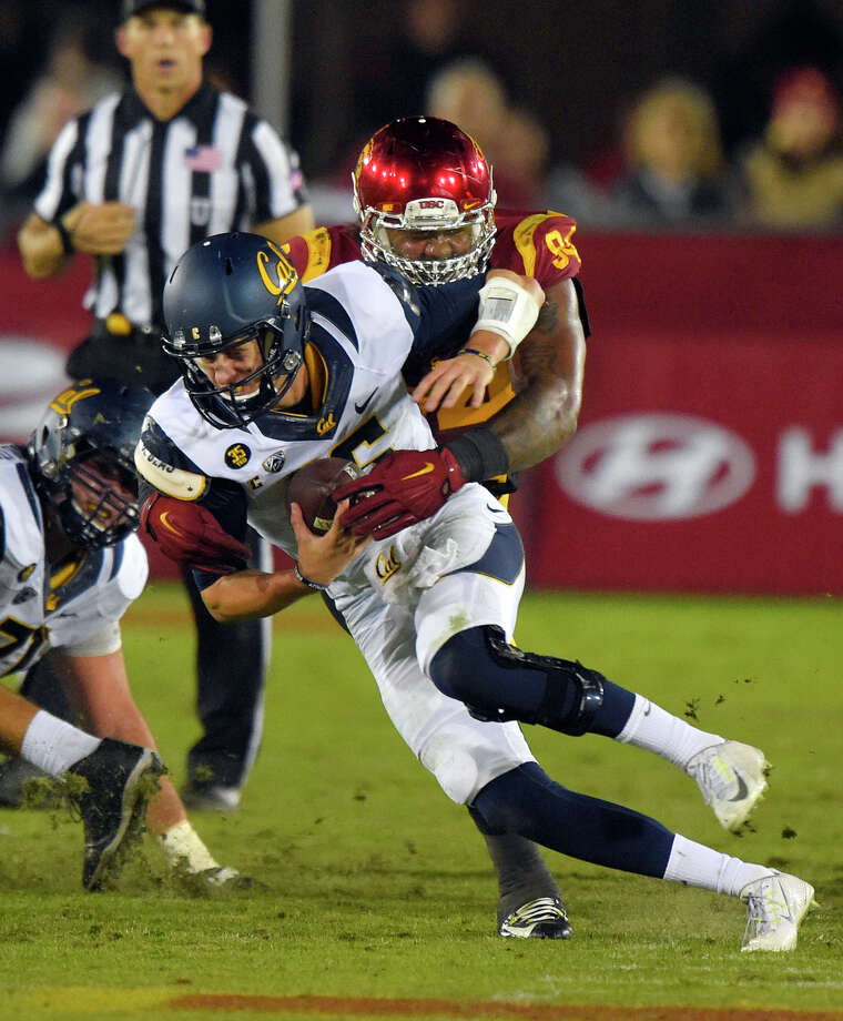 Cal quarterback Jared Goff is sacked by USC defensive end Leonard Williams during the second half of the Trojans' 38-30 win Thursday at the Los Angeles Coliseum. Photo: Mark J. Terrill / Associated Press / AP