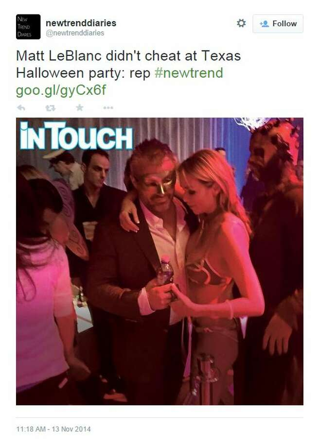 "Matt LeBlanc, who played Joey on the hit NBC show ""Friends,"" is denying that he cheated on his long-time girlfriend at a Halloween party in Austin after an In Touch Weekly story claimed the 47-year-old actress was hooking up with ""several scantily clad women"" at the party.  The story said LeBlanc, dressed as a masked crusader, ""maintained a low profile earlier in the night, but around 1:30 a.m., he started getting very flirty with the bottle service girls."" Photo: Fechter, Joshua I, Twitter"
