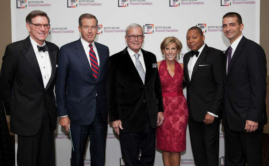 Among those in attendance at the Multiple Myeloma Research Foundation's recent  Fall Gala in Greenwich were, from left, William N. Hait M.D., Ph.D., Global Head at Janssen Research and Development, LLC., Brian Williams - Anchor and Managing Editor NBC Nightly News, Tom Brokaw, Special Correspondent NBC News, multiple myeloma patient and the MMRF Spirit of Hope Award recipient, Kathy Giusti - MMRF Executive Chairman and Founder of the MMRF and 17 year multiple myeloma survivor,Wynton Marsalis - world-renowned trumpeter, bandleader and composer, and Walter Capone - CEO and President of the MMRF. Photo: Contributed Photo / Greenwich Time Contributed