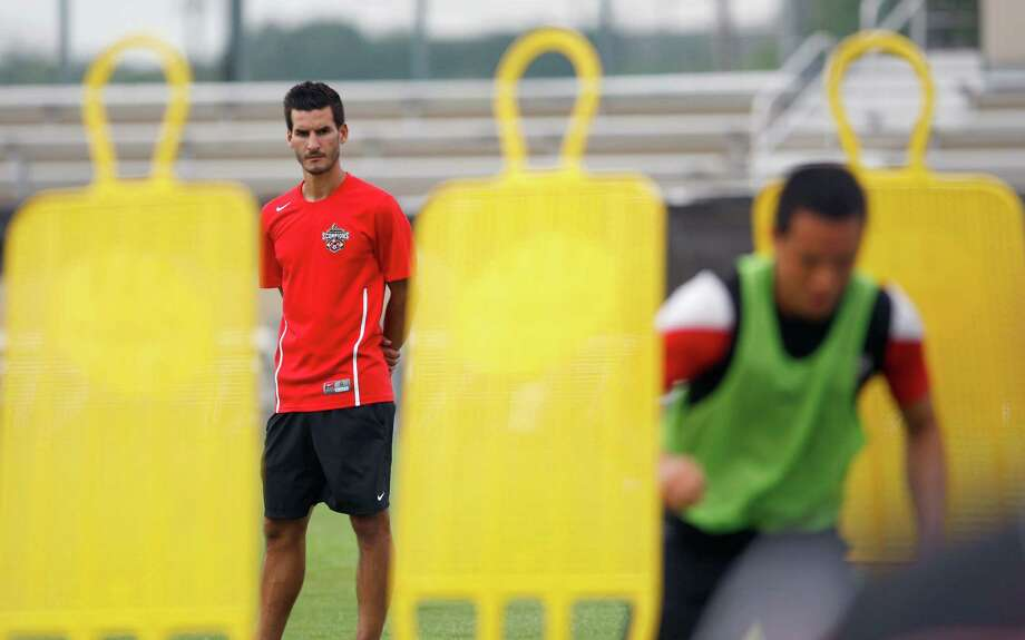 Manager Alen Marcina, shown during workouts last season, and the Scorpions will be looking to defend their NASL crown. Photo: William Luther /San Antonio Express-News / © 2014 San Antonio Express-News