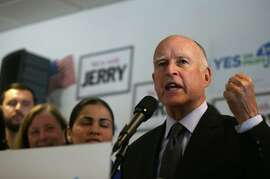 Gov. Jerry Brown in October at a rally in Pleasanton.