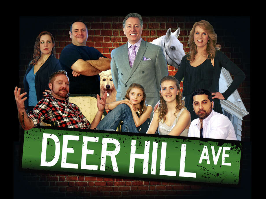 "A reality show called ""Deer Hill Avenue"" is being filmed in Danbury. Cast members shown here in the top row are, left to right, Julia Ryan, Mike Bonasera, Kirk Rundhaug, Pearl (The Horse) and Clair Rundhaug. On the bottom row are Lou Milano, Grace Rundhaug, Sophie Rundhaug, and Jared Shahid. Photo: Contributed Photo / The News-Times Contributed"